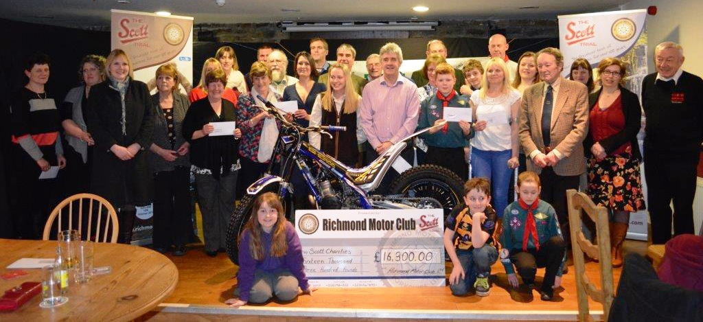 Last Friday night Richmond Motor Club's Scott Trial presented its annual Charitable Donations following the success of the 2014 Centenary Trial